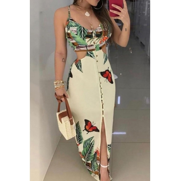 Lovely Casual Hollow-out Creamy White Floor Length Dress