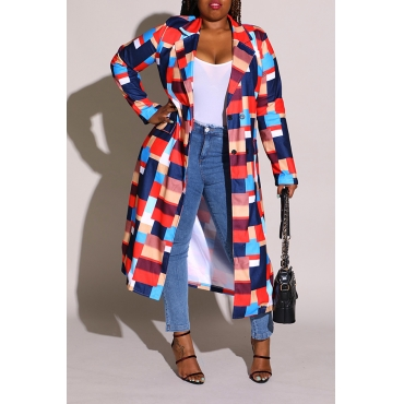 Lovely Casual Turn-back Collar Printed Red Plus Size Coat