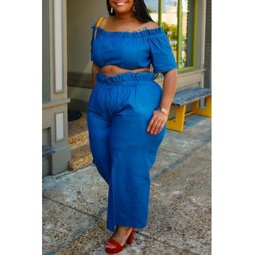 Lovely Casual Flounce Design Blue Plus Size Two-piece Pants Set