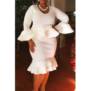 Lovely Casual Flounce Design White Knee Length Plus Size Dress