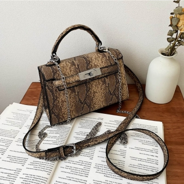 Lovely Trendy Snakeskin Printed Crossbody Bag