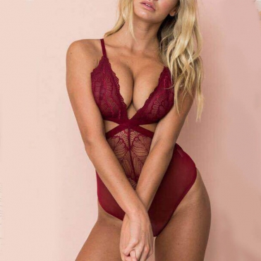 Lovely Trendy Hollow-out Wine Red Teddies
