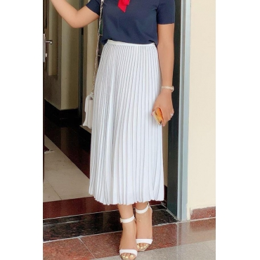 Lovely Casual Ruffle Design White Ankle Length Skirts