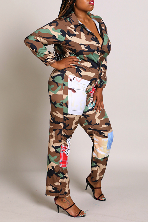 Lovely Casual Camouflage Printed Plus Size One-piece Jumpsuit