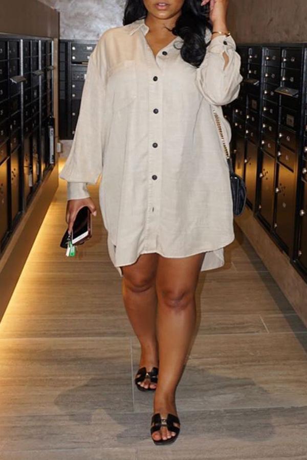 Lovely Trendy Buttons Asymmetrical White Mini Dress