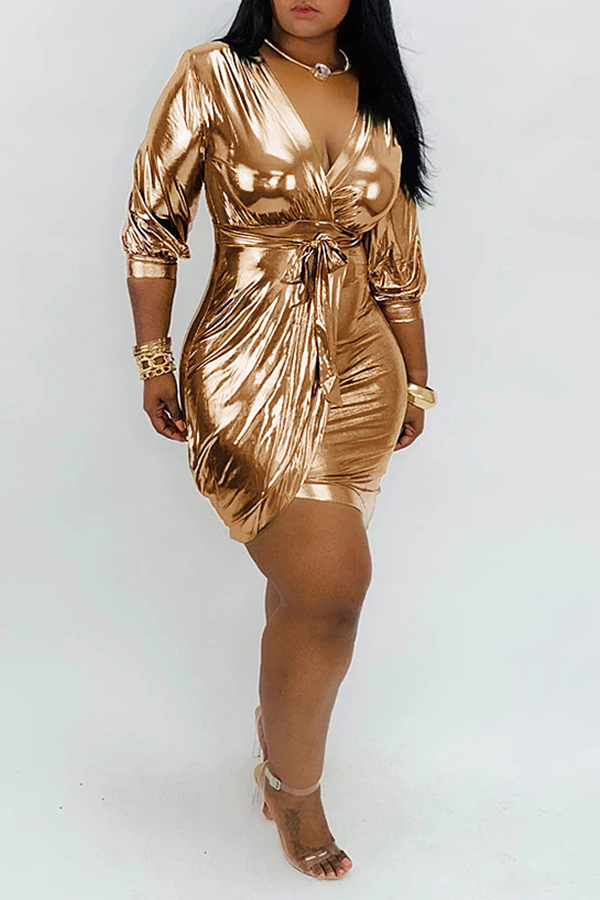Lovely Trendy V Neck Asymmetrical Gold Mini Dress