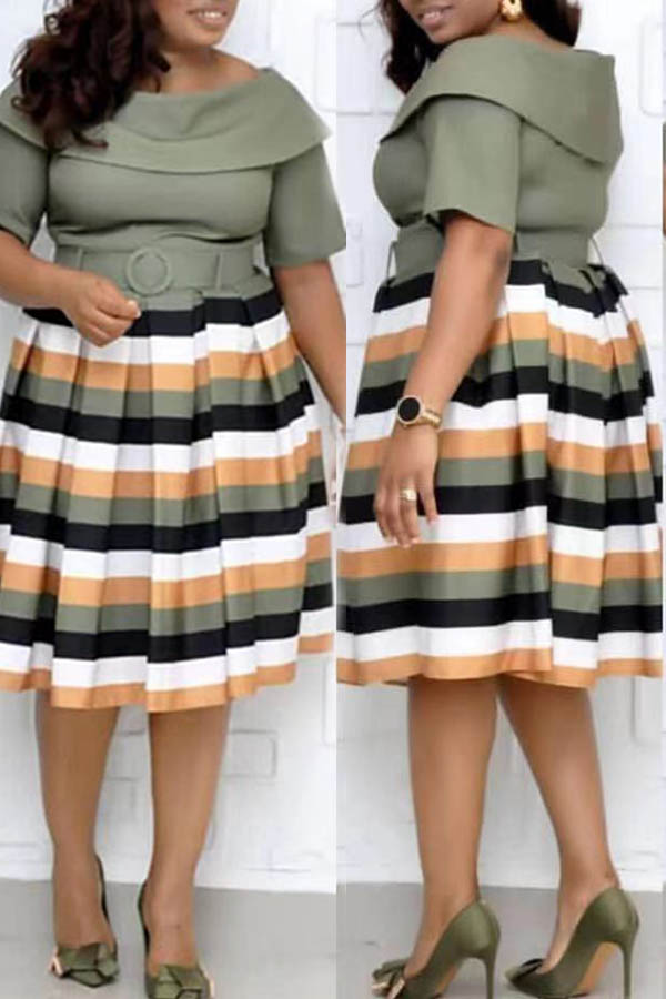 Lovely Casual Striped Army Green Knee Length Plus Size Dress