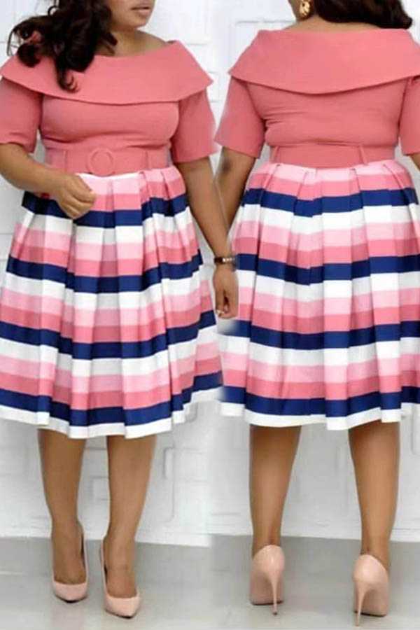 Lovely Casual Striped Pink Knee Length Plus Size Dress