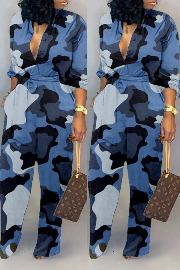 Lovely Casual Camouflage Printed Blue One-piece Jumpsuit