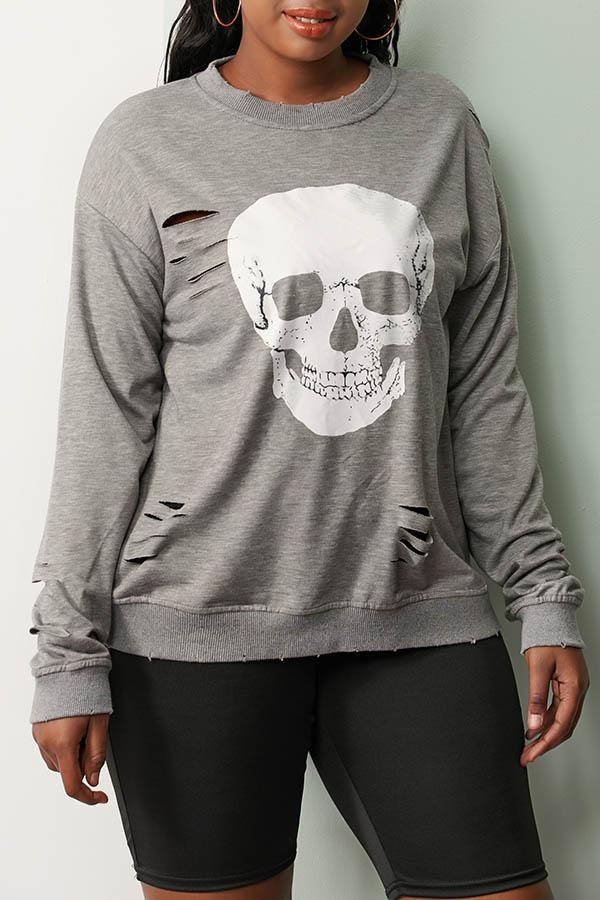 Lovely Casual Skull Printed Grey Sweatshirt