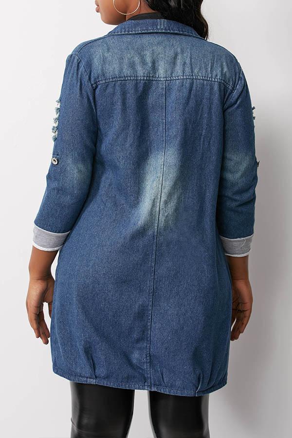 Lovely Casual Broken Holes Blue Coat