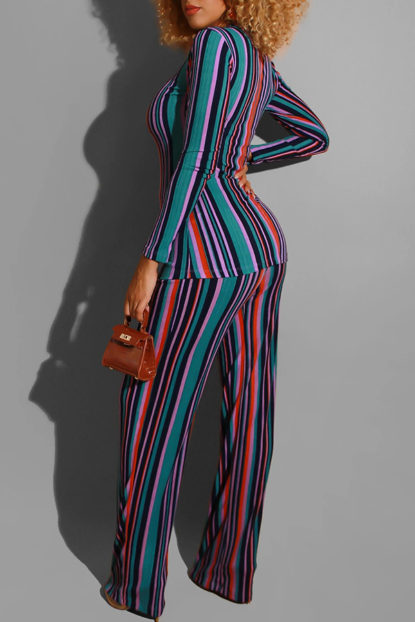 Lovely Casual O Neck Striped Printed Two-piece Pants Set
