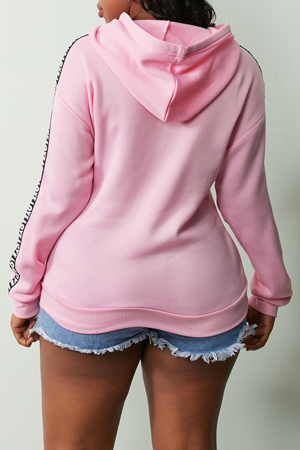 Lovely Casual Hooded Collar Letter Printed Pink Hoodies
