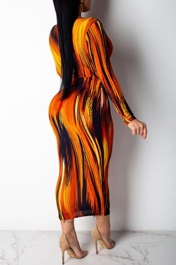 Lovely Trendy Deep V Neck Jacinth Ankle Length Dress