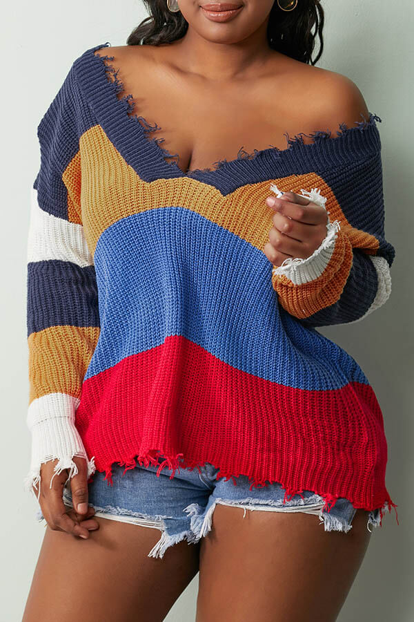 Lovely Casual Asymmetrical Patchwork Navy Blue Sweater