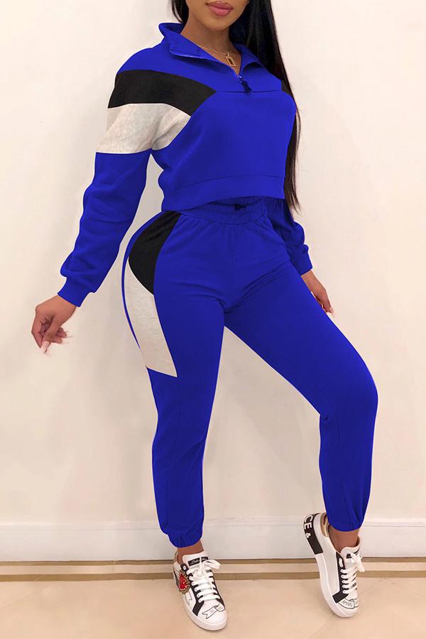 Lovely Casual Color-lump Patchwork Blue Two-piece Pants Set