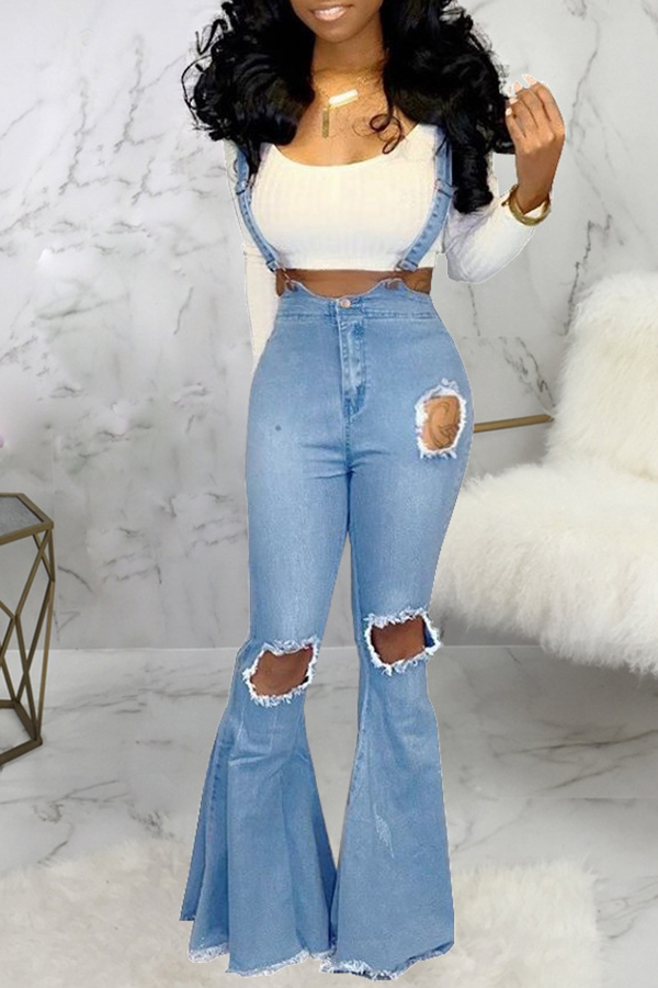 Lovely Casual Flared Hollow-out Blue One-piece Jumpsuit