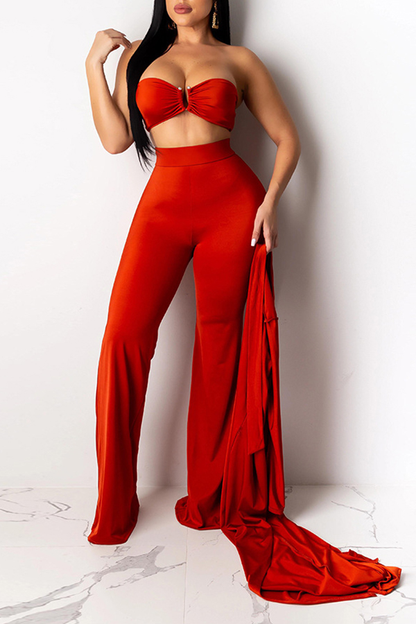 Lovely Sexy Loose Red Three-piece Pants Set