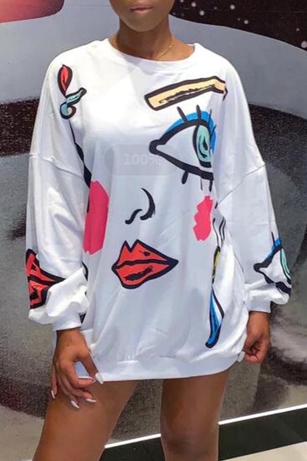 Lovely Casual Printed White Sweatshirt Hoodie