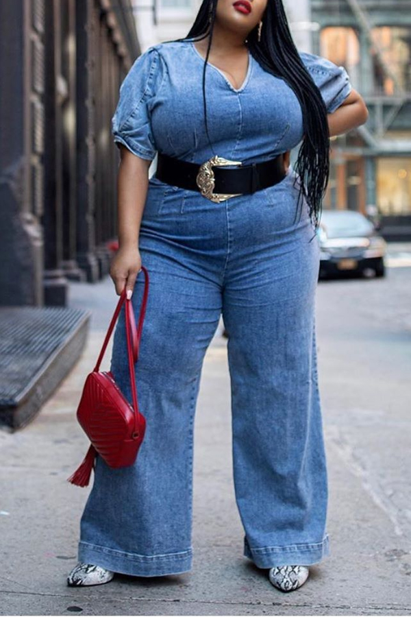 Lovely Casual Loose Blue Plus Size One-piece Jumpsuit
