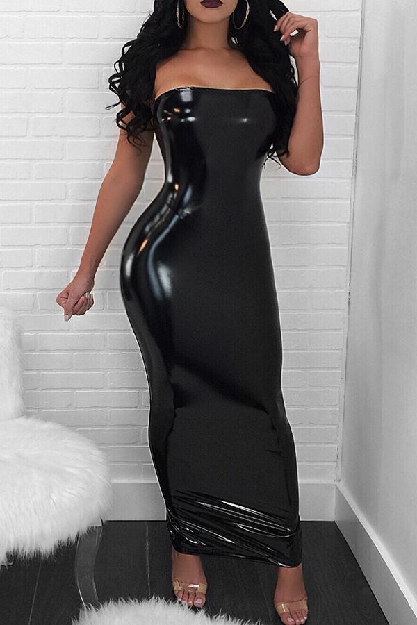 Lovely Sexy Skinny Zipper Design Black Ankle Length Dress