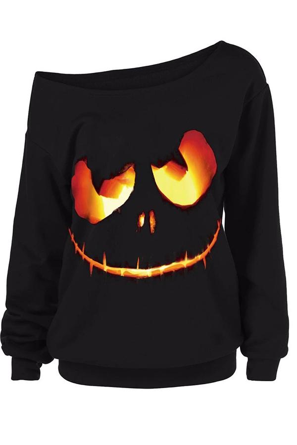 Lovely Halloween Casual Printed Black Sweatshirt Hoodie