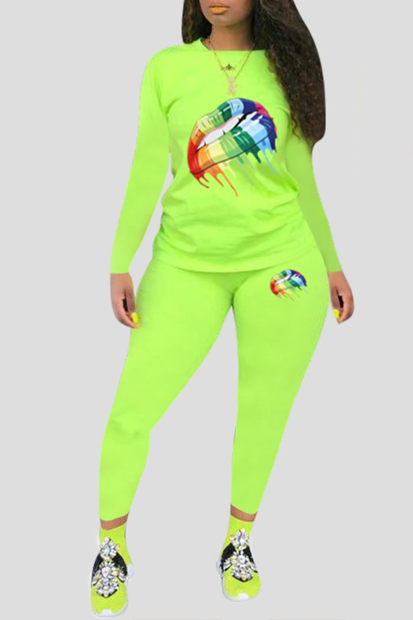 Lovely Leisure Lip Printed Green Plus Size Two-piece Pants Set