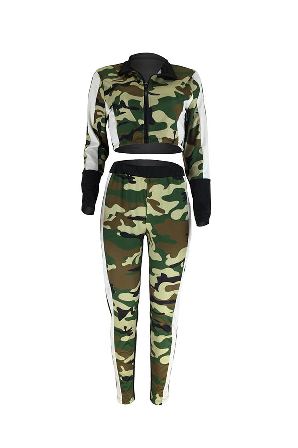 Lovely Trendy Patchwork Camouflage Printed Two-piece Pants Set