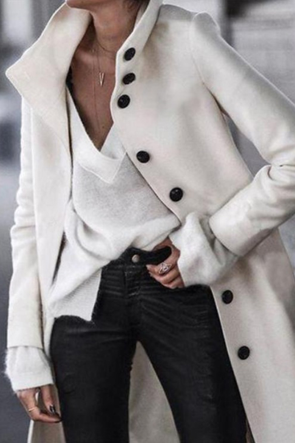 Lovely Casual Buttons Design White Coat