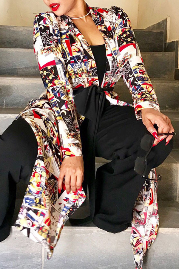Lovely Casual Printed Long Multicolor Coat(With Belt)