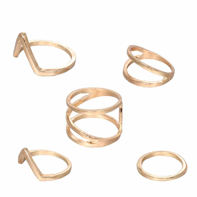 Lovely Trendy 4-piece Gold Ring