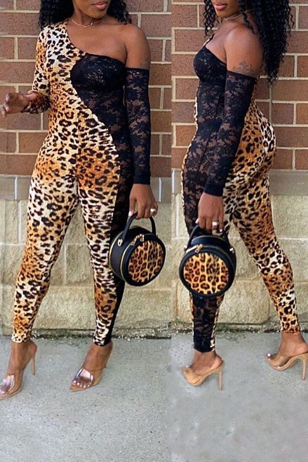 Lovely Sexy Patchwork Leopard Printed One-piece Jumpsuit