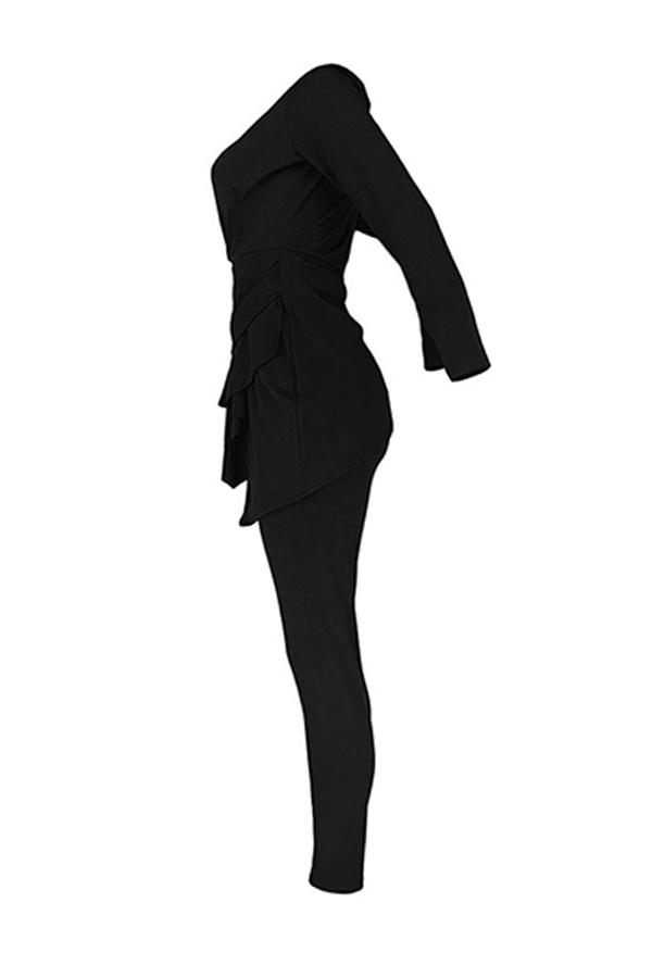 Lovely Work Deep V Neck Flounce Black Two-piece Pants Set