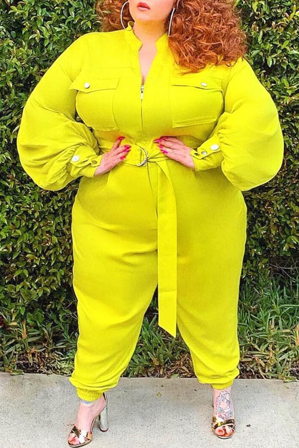 Lovely Casual Basic Yellow Plus Size One-piece Jumpsuit