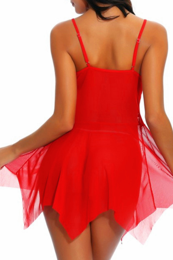 Lovely Christmas Day See-through Patchwork Red Babydolls