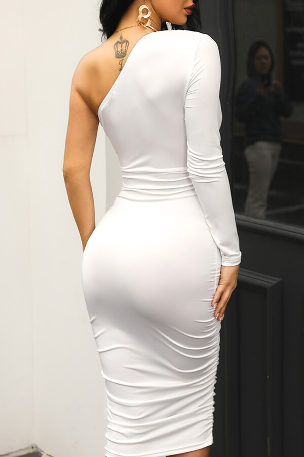 Lovely Casual One Shoulder Lace-up White Knee Length Dress