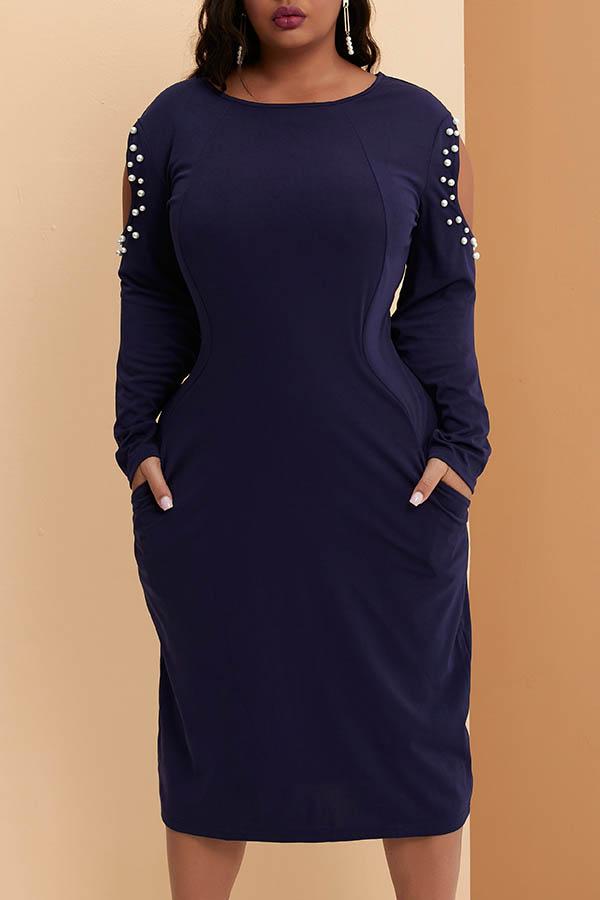 Lovely Casual Cold Shoulder Pocket Patched Deep Blue Knee Length Plus Size Dress