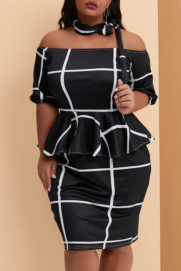 Lovely Casual Off The Shoulder Printed Black Knee Length Plus Size Dress