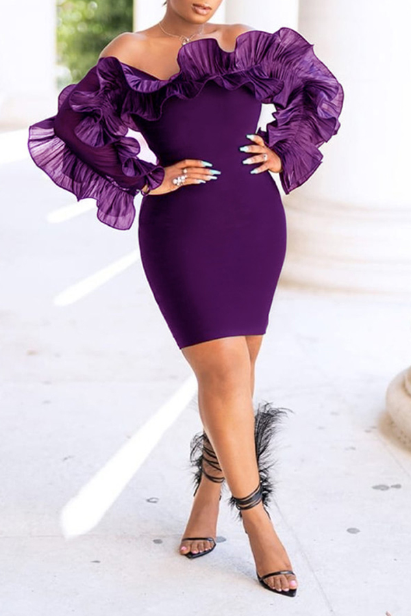Lovely Trendy Off The Shoulder Flounce Design Purple Mini Dress