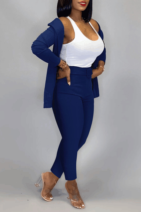 Lovely Work Basic Blue Two-piece Pants Set(Without T-shirt)