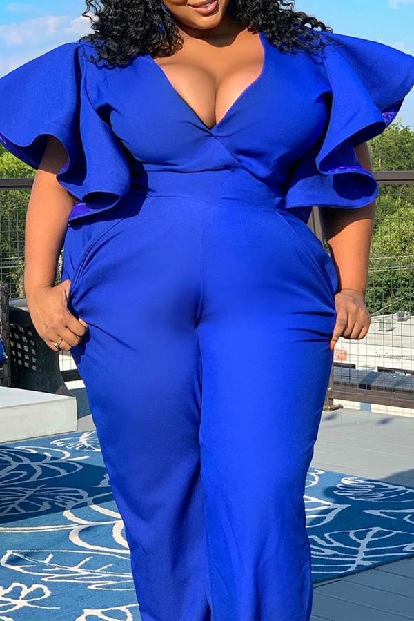 Lovely Casual Flounce Design Blue Plus Size Jumpsuit