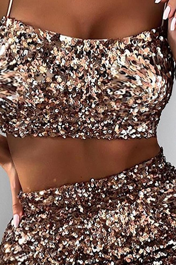 Lovely Sexy Sequined Gold Two-piece Skirt Set