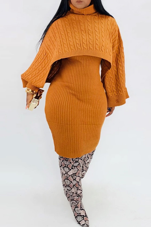 Lovely Casual Turtleneck Yellow Two-piece Skirt Set