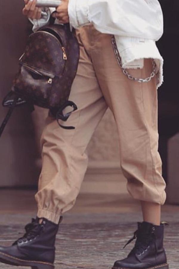 Lovely Casual Basic Khaki Pants