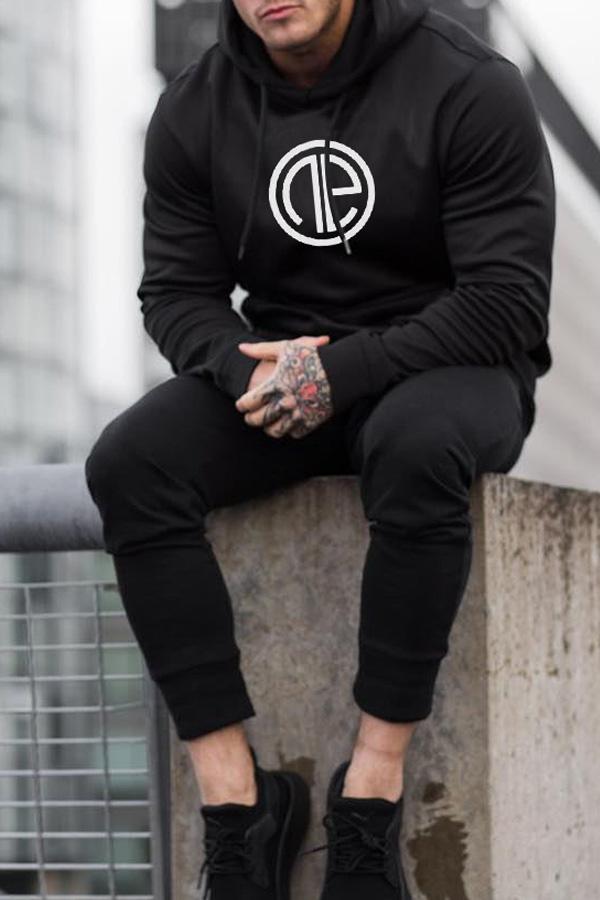 Lovely Casual Hooded Collar Black Hoodie