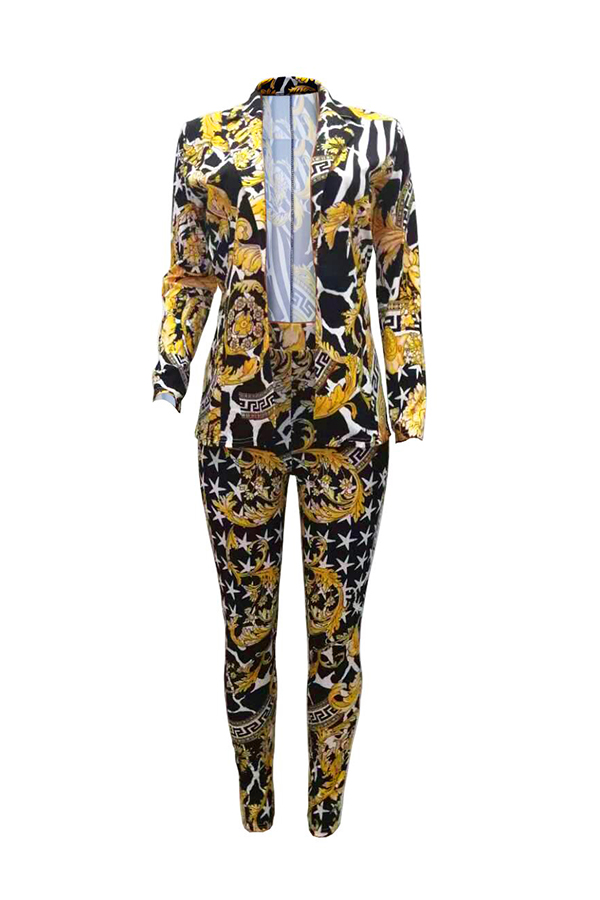 Lovely Casual Turn-back Collar Printed Multicolor Two-piece Pants Set