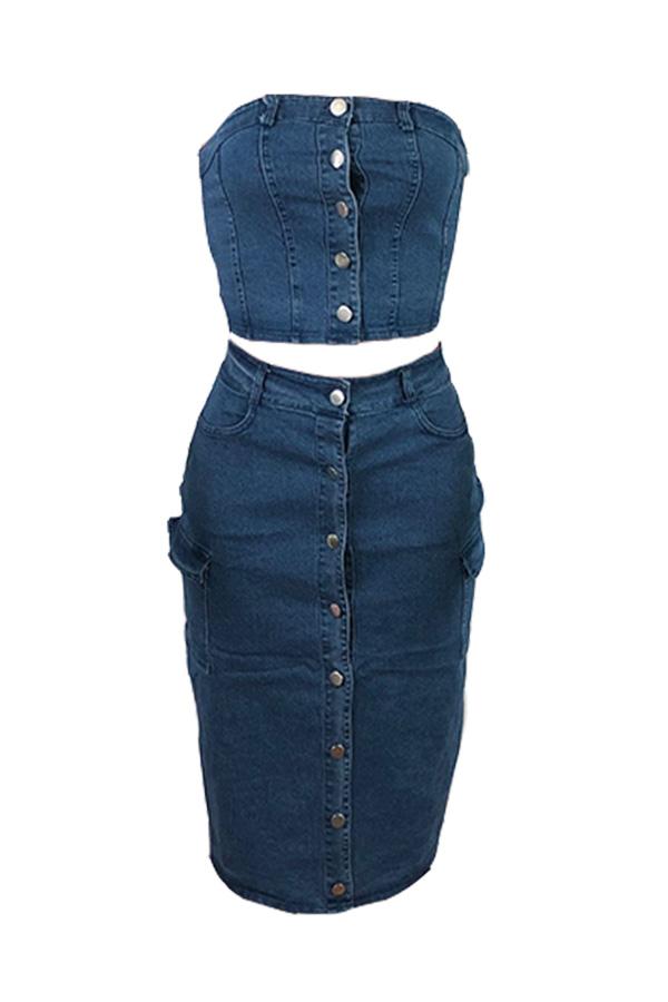 Lovely Street Button Design Blue Two-piece Skirt Set