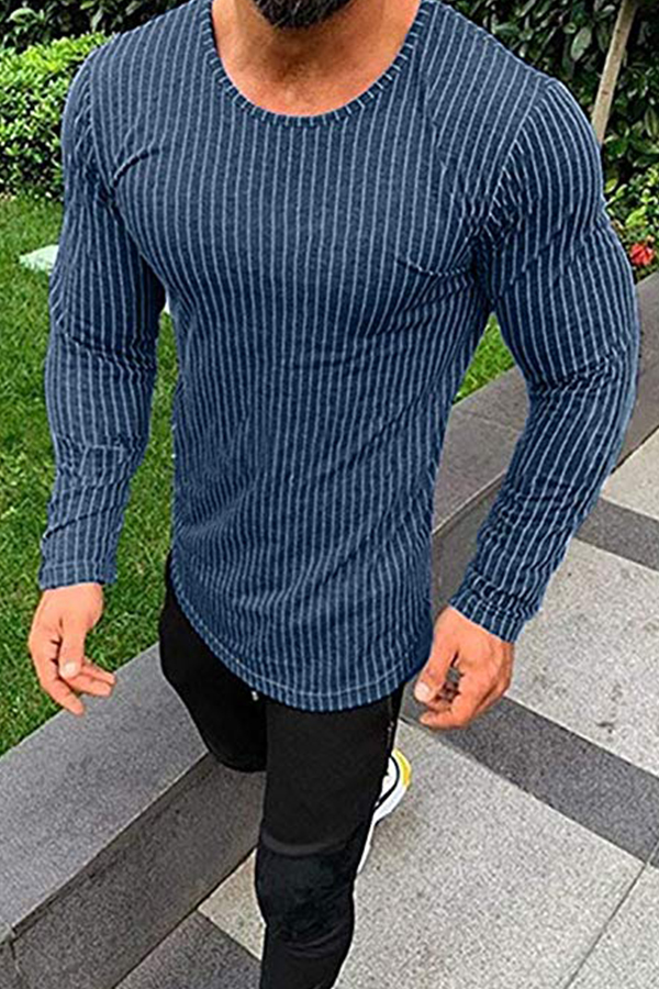 Lovely Casual Striped Blue T-shirt