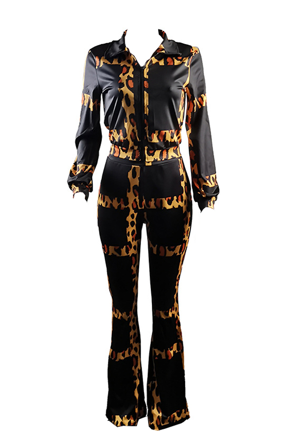 Lovely Casual Turndown Collar Leopard Printed Two-piece Pants Set
