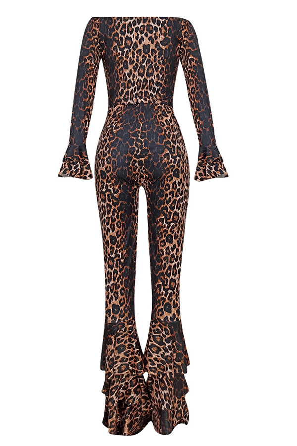 Lovely Chic Flounce Leopard Printed One-piece Jumpsuit